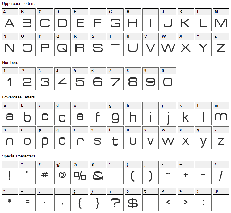 Acens Font Character Map