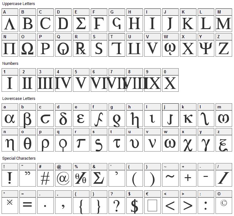 Achilles Font Character Map