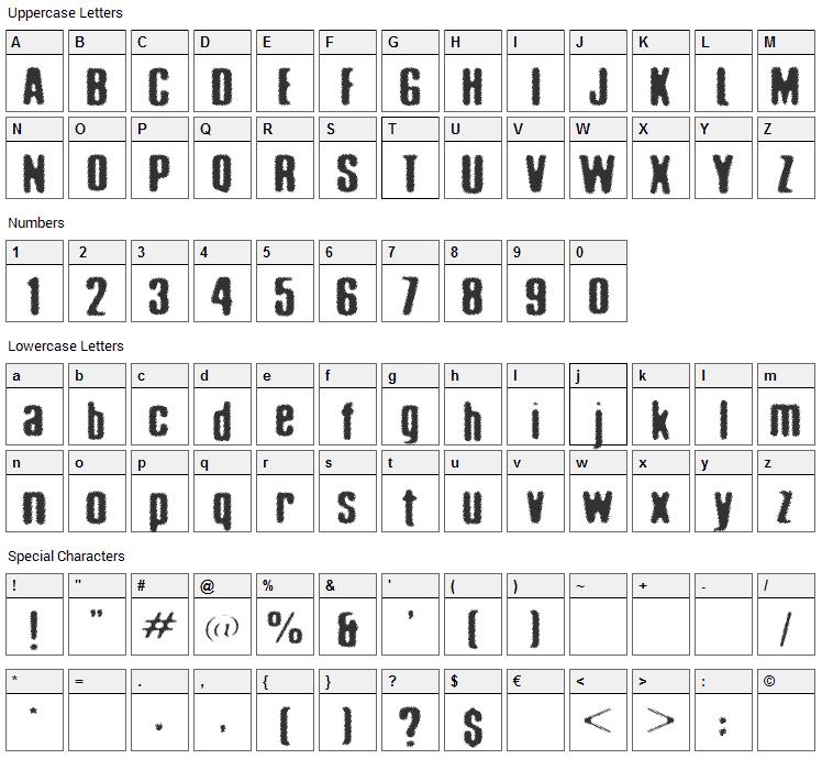 Acid Reflux Font Character Map