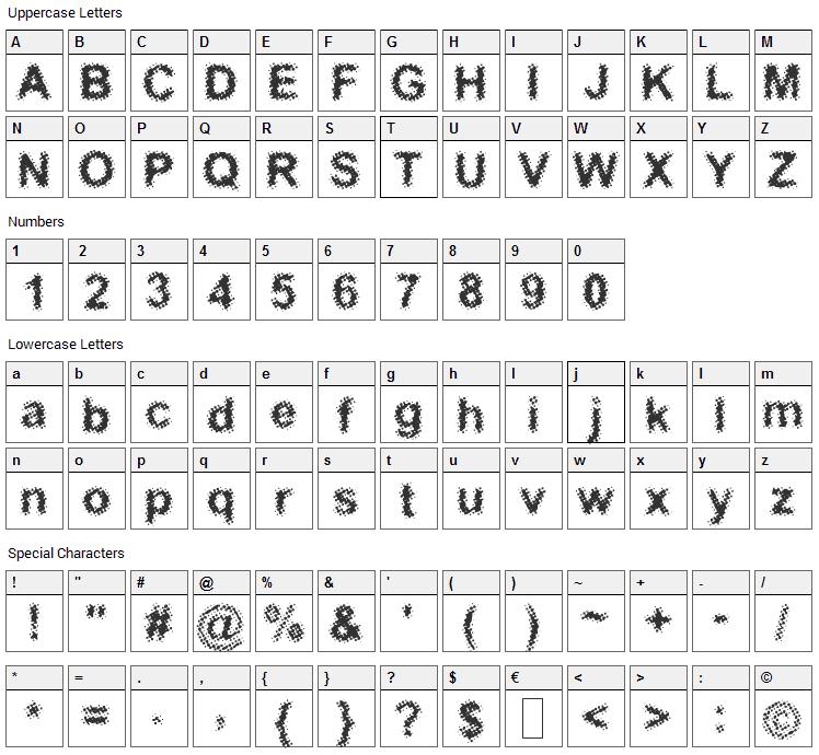 Acidic Font Character Map