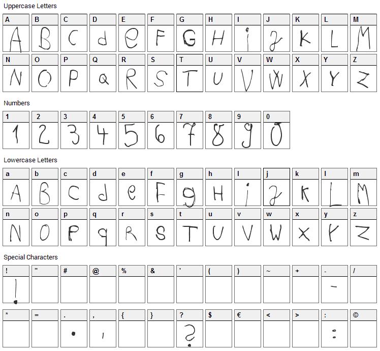 Acki Preschool Font Character Map