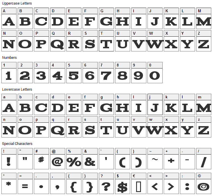 Acknowledgement Font Character Map