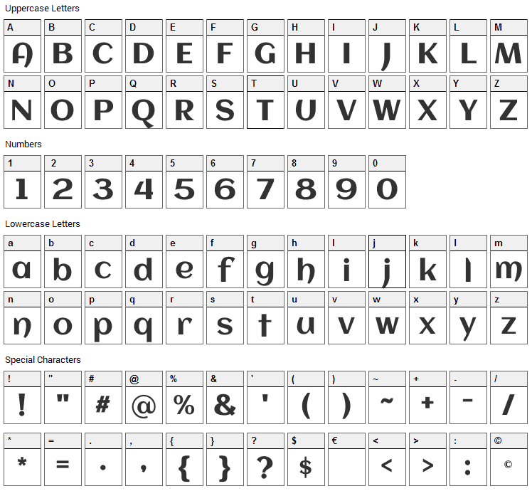 Aclonica Font Character Map