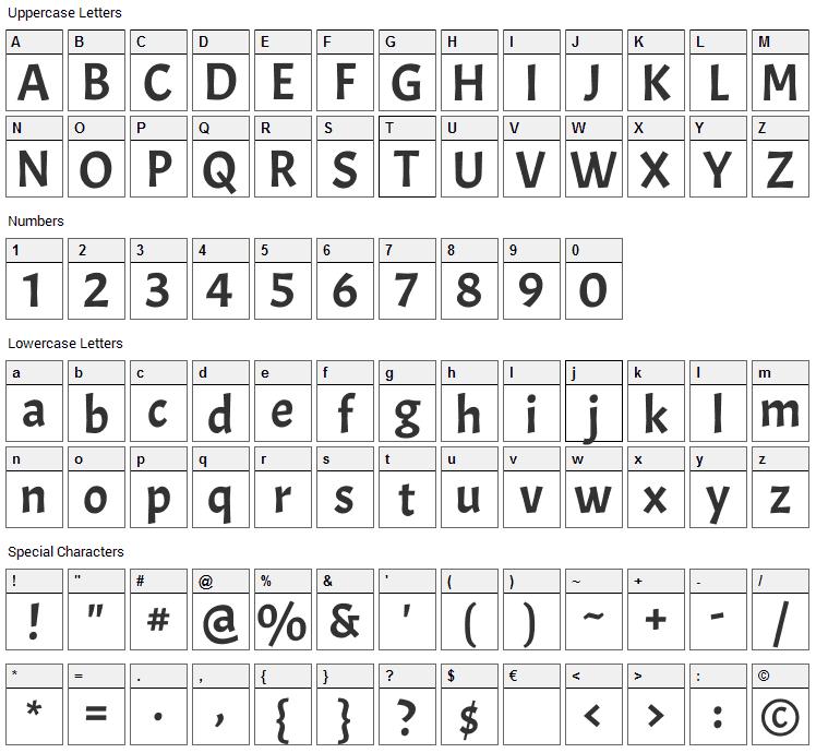 Acme Font Character Map