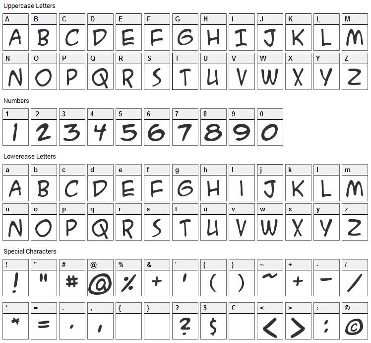 ACME Secret Agent Font Character Map