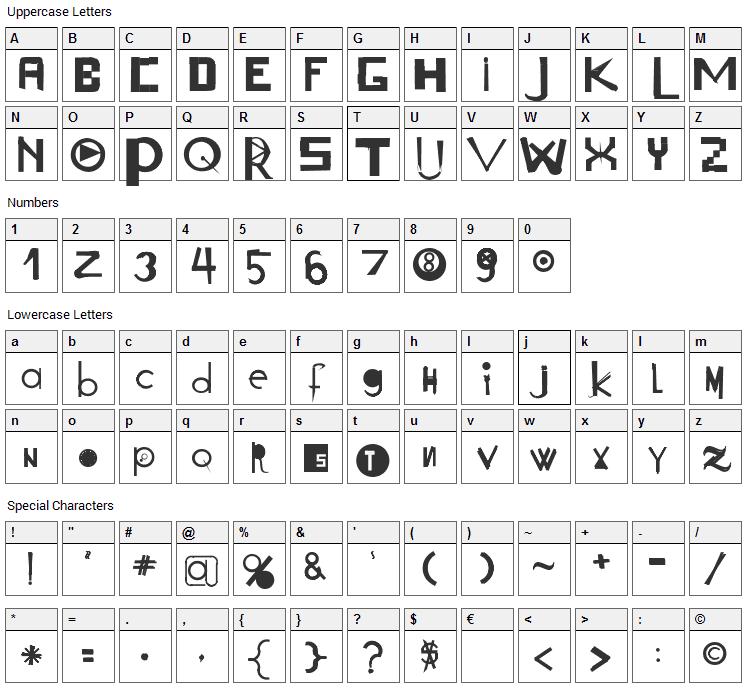 Acogessic Font Character Map