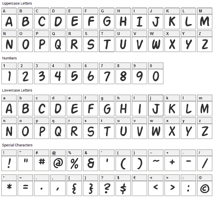 Action Man Font Character Map