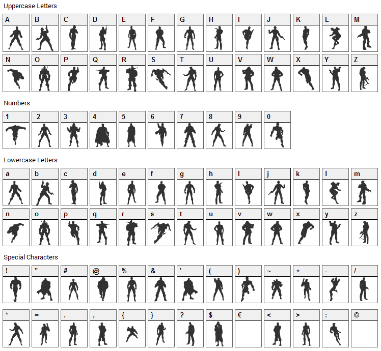 Action Men Font Character Map