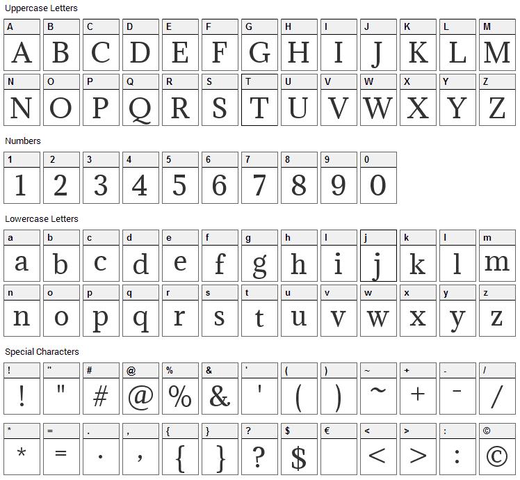 Adamina Font Character Map