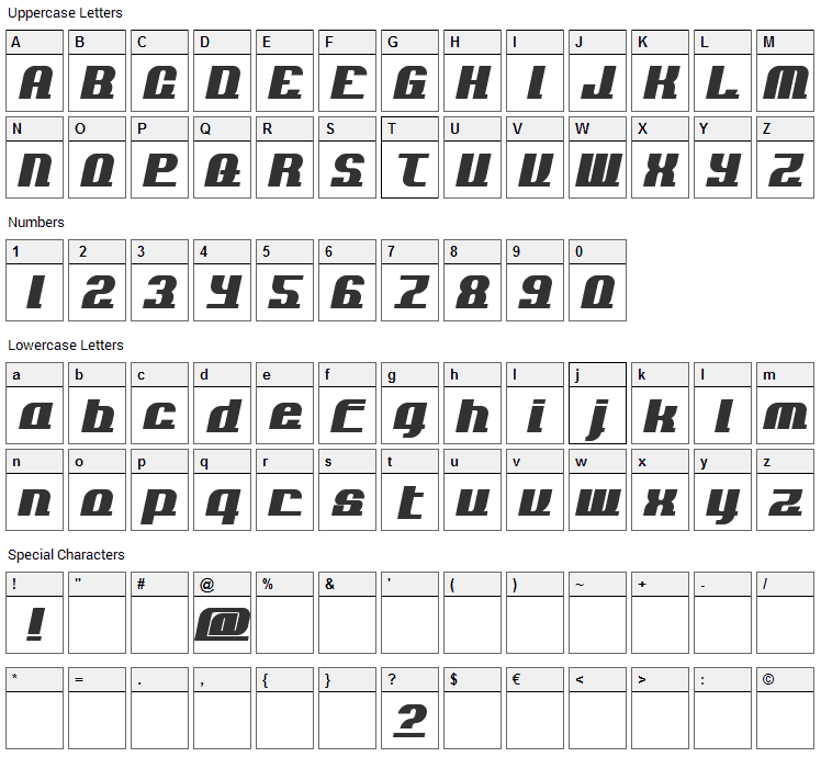 Add Loops Font Character Map