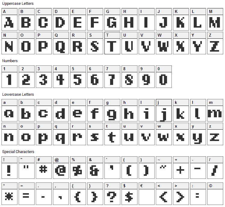 Add Standard Bitmap Font Character Map