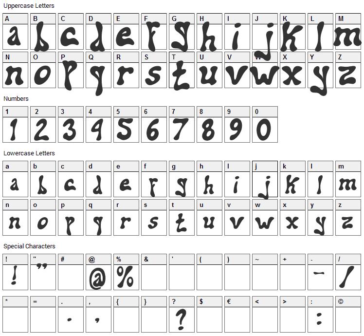 Addiel Font Character Map