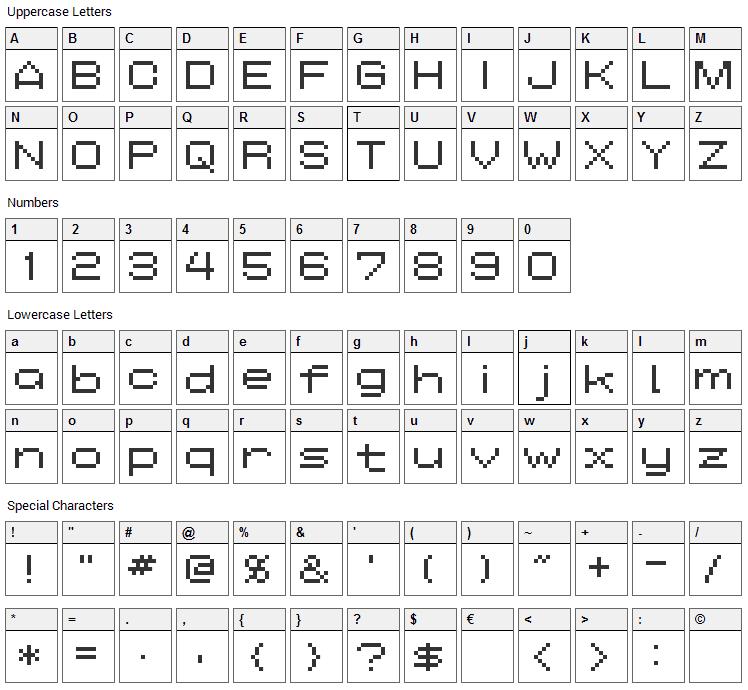 AddWBitmap09 Font Character Map