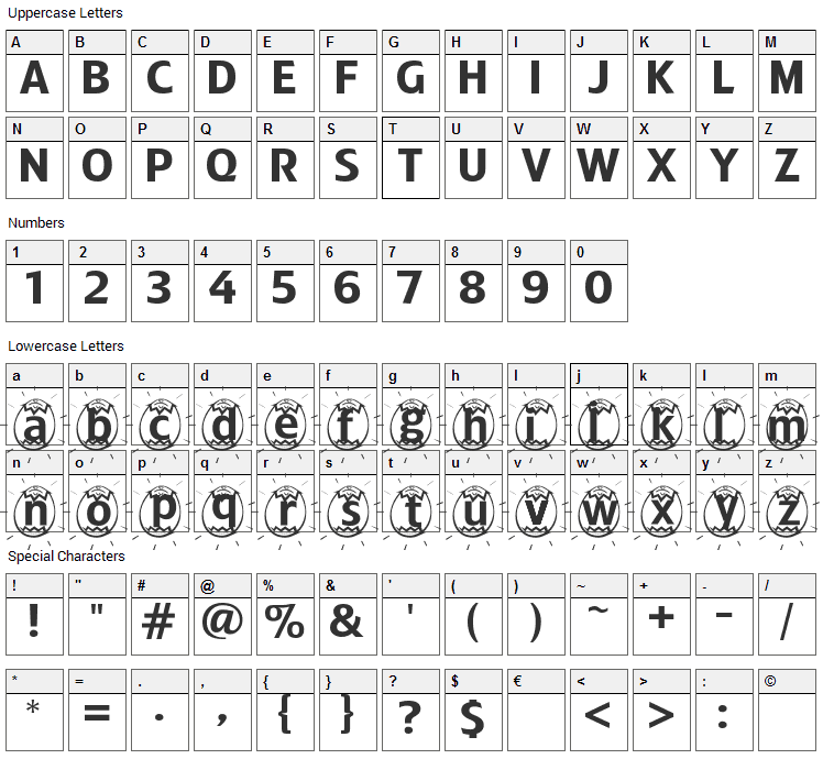 ADFB Easter Egg Font Character Map