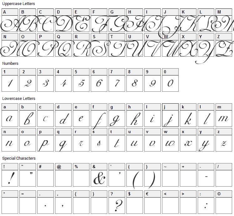 Adine Kirnberg Script Font Character Map