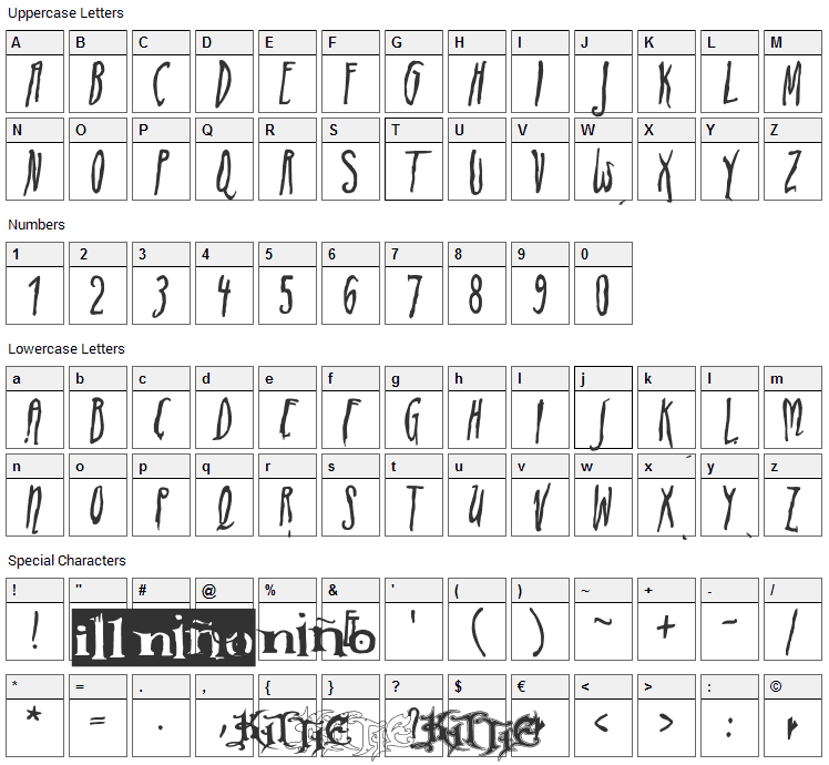 ADIstiLleRS Font Character Map