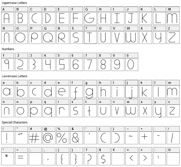 Adlanta Font Character Map