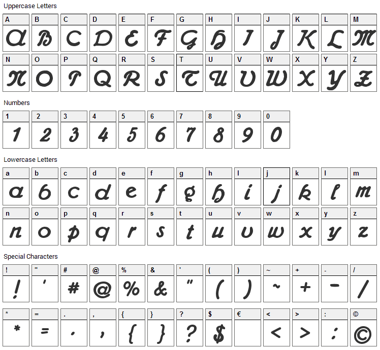 Admiral CAT Font Character Map