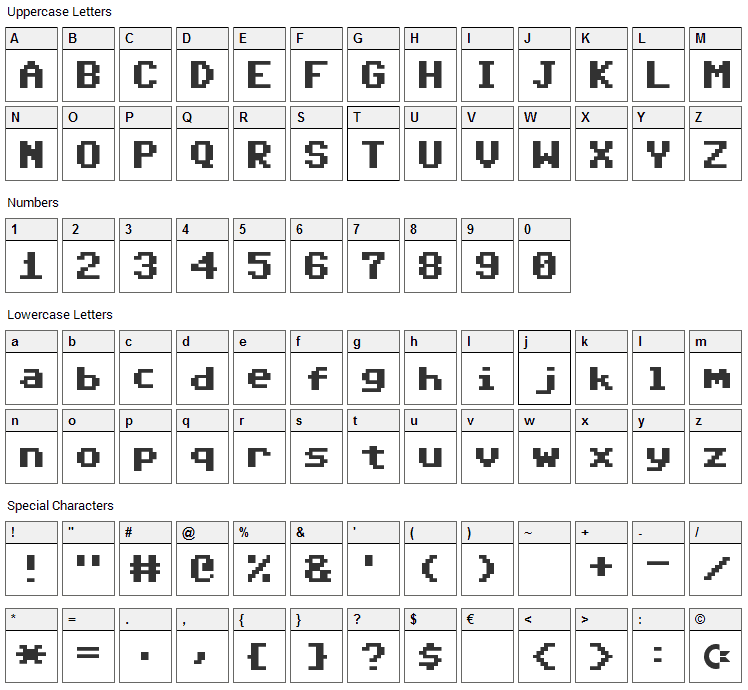 Adore 64 Font Character Map