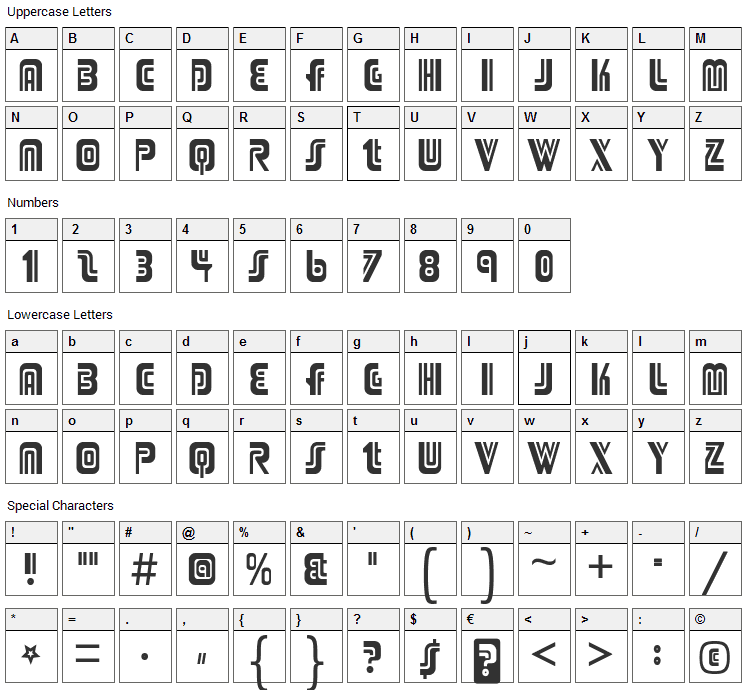 Adriator Font Character Map