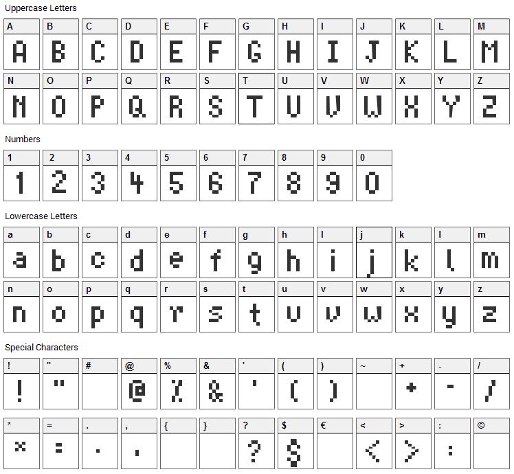 Advocut Font Character Map