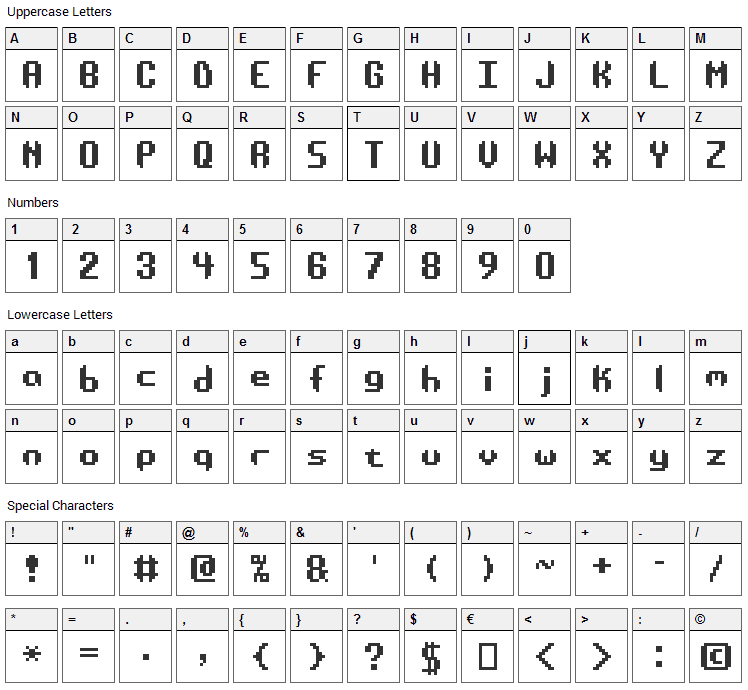 AE Systematic Font Character Map
