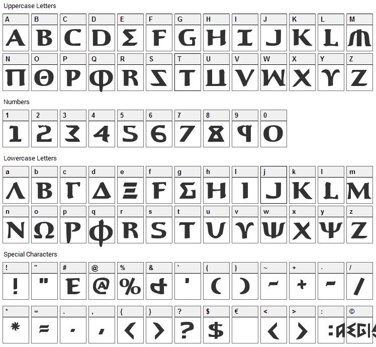 Aegis Font Character Map