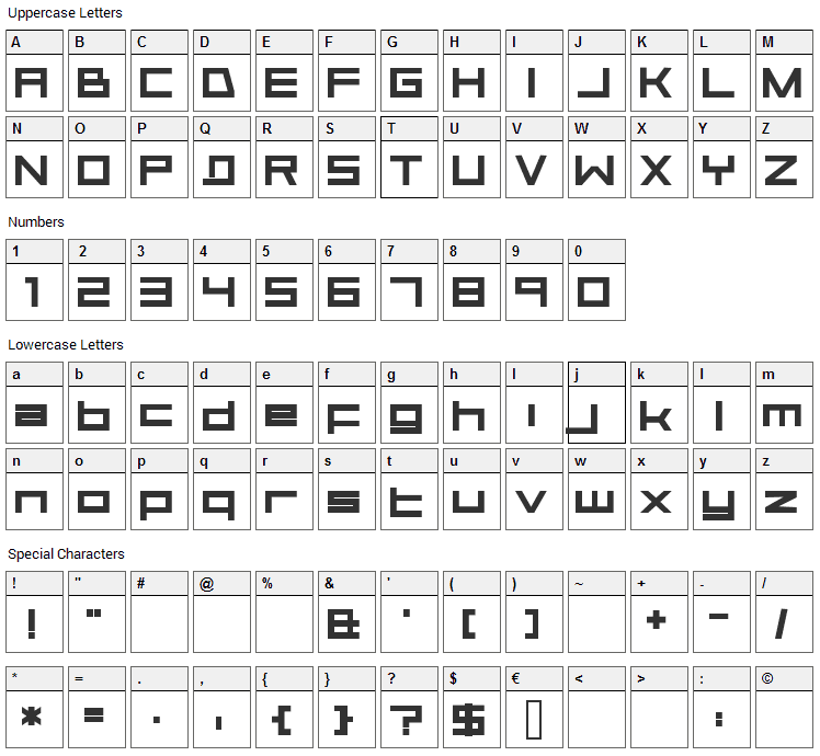 Aerial Font Character Map