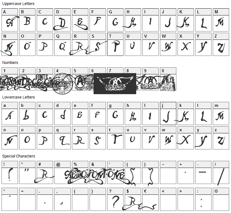 Aero Font One Font Character Map