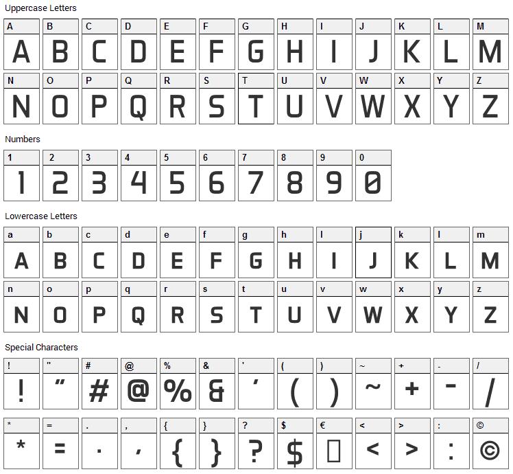 Aero Matics Font Character Map