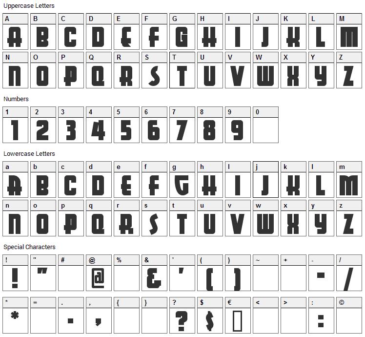 Aerojones Font Character Map