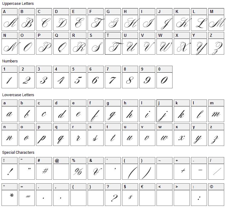 Aerolite Script Font Character Map