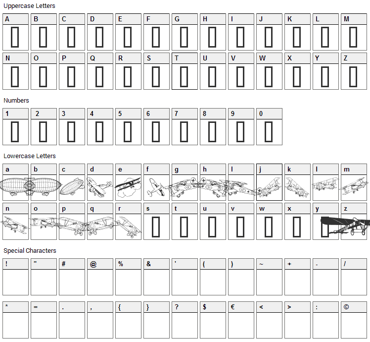 Aeroplanes Font Character Map
