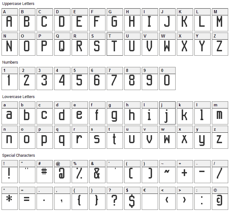 Aeroport Font Character Map