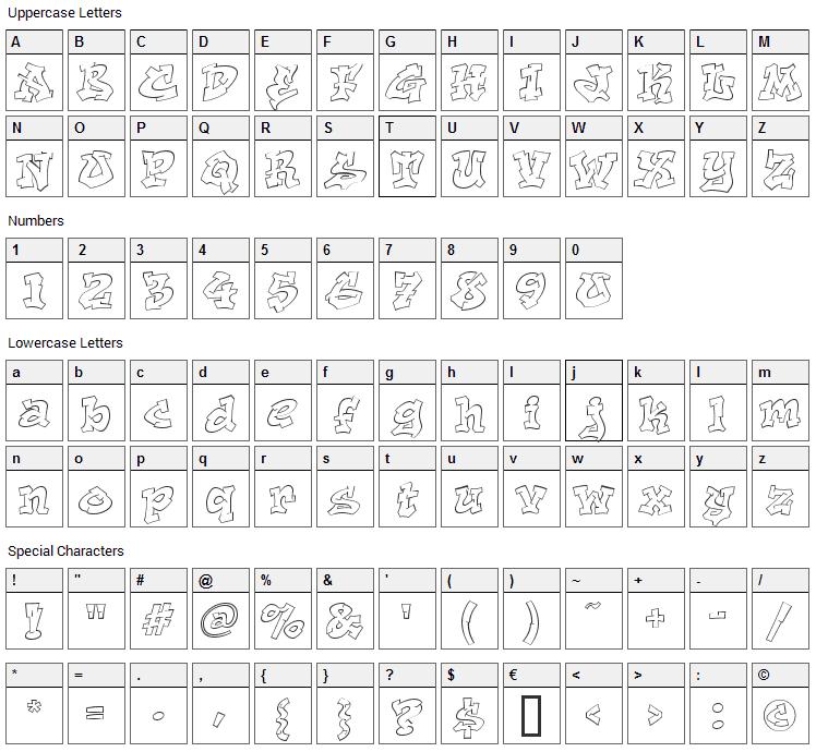 Aerosol Font Character Map