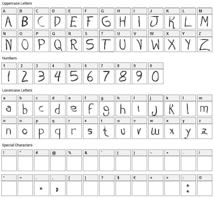 Aespiro Font Character Map