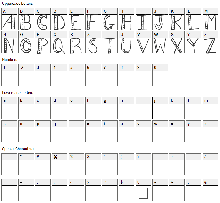 AEZ Dots Font Character Map