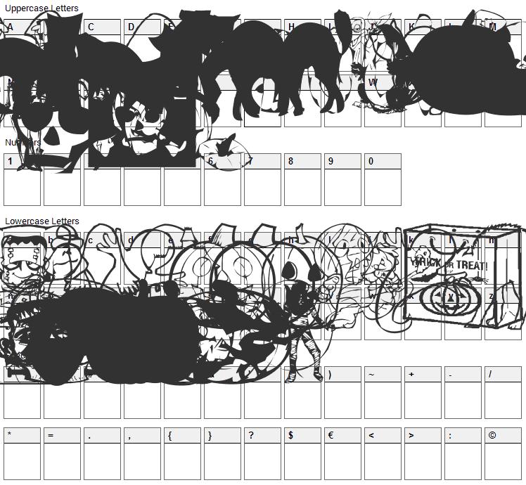 AEZ Halloween Dingbats Font Character Map