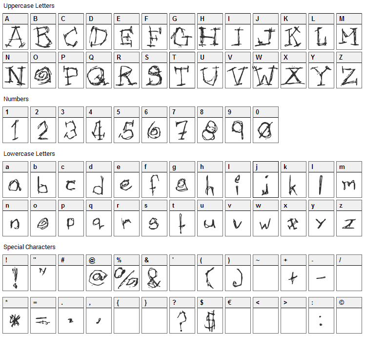 Afectionless Font Character Map