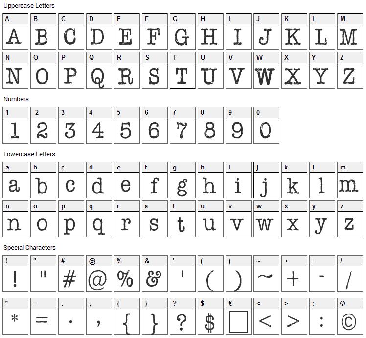 AFL Font Pespaye Nonmetric Font Character Map