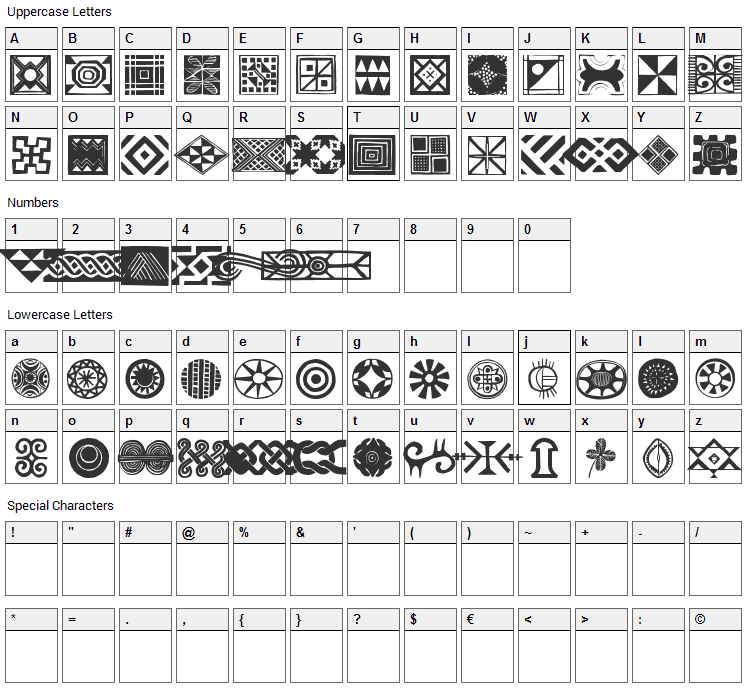 African Ornaments One Font Character Map