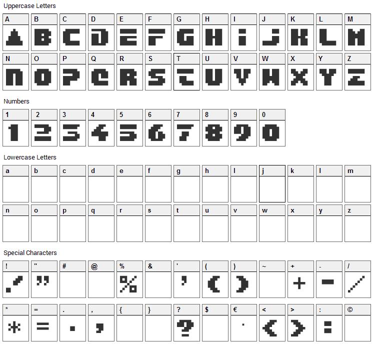 After Burner Font Character Map