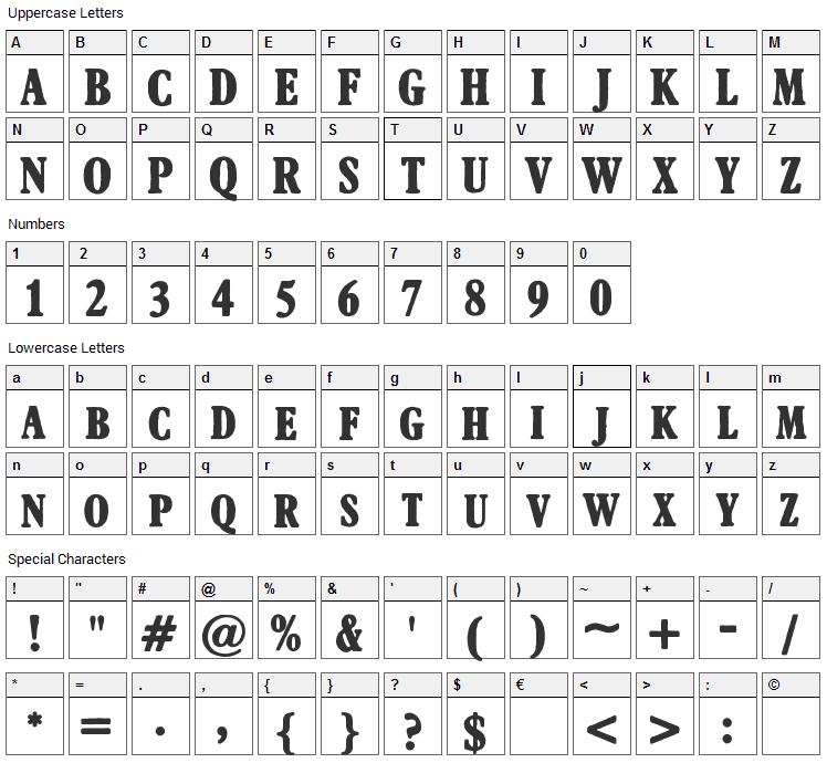 Afton James Font Character Map