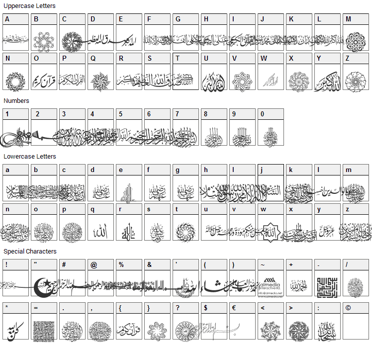 AGA Islamic Phrases Font Character Map