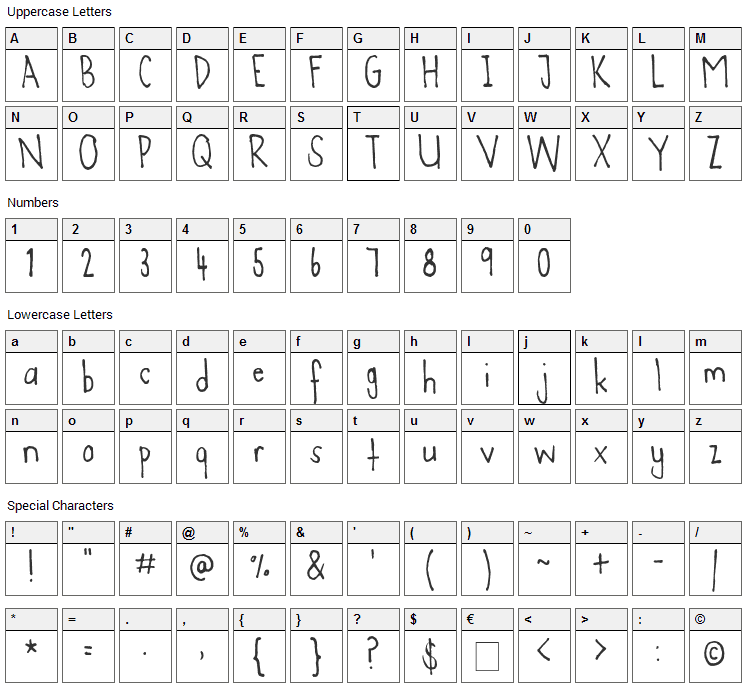 Agent C Font Character Map