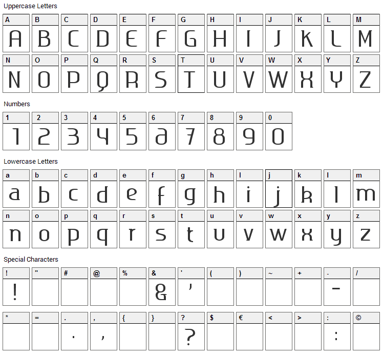 Ageone Serif Font Character Map