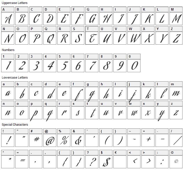 Aguafina Script Font Character Map
