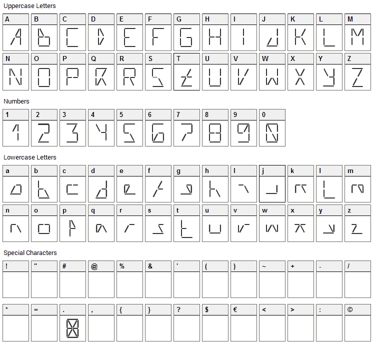AI Liftled Font Character Map