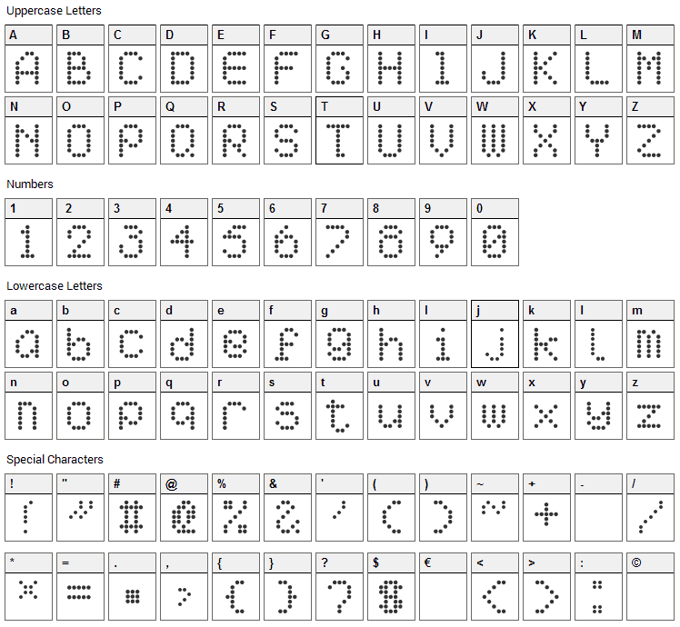 AI pointe Font Character Map