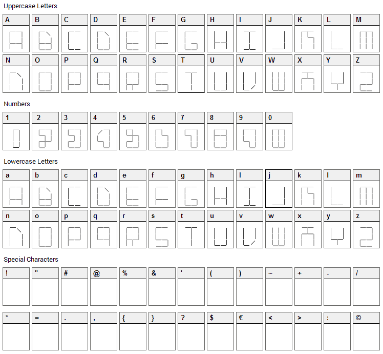 AI Stapler Font Character Map